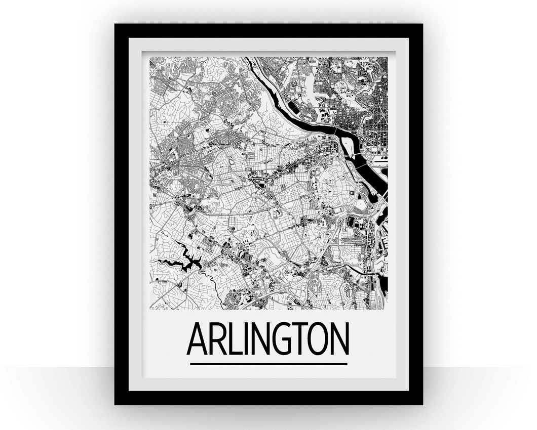 Arlington VA Map Poster - Virginia Map Print - Art Deco Series