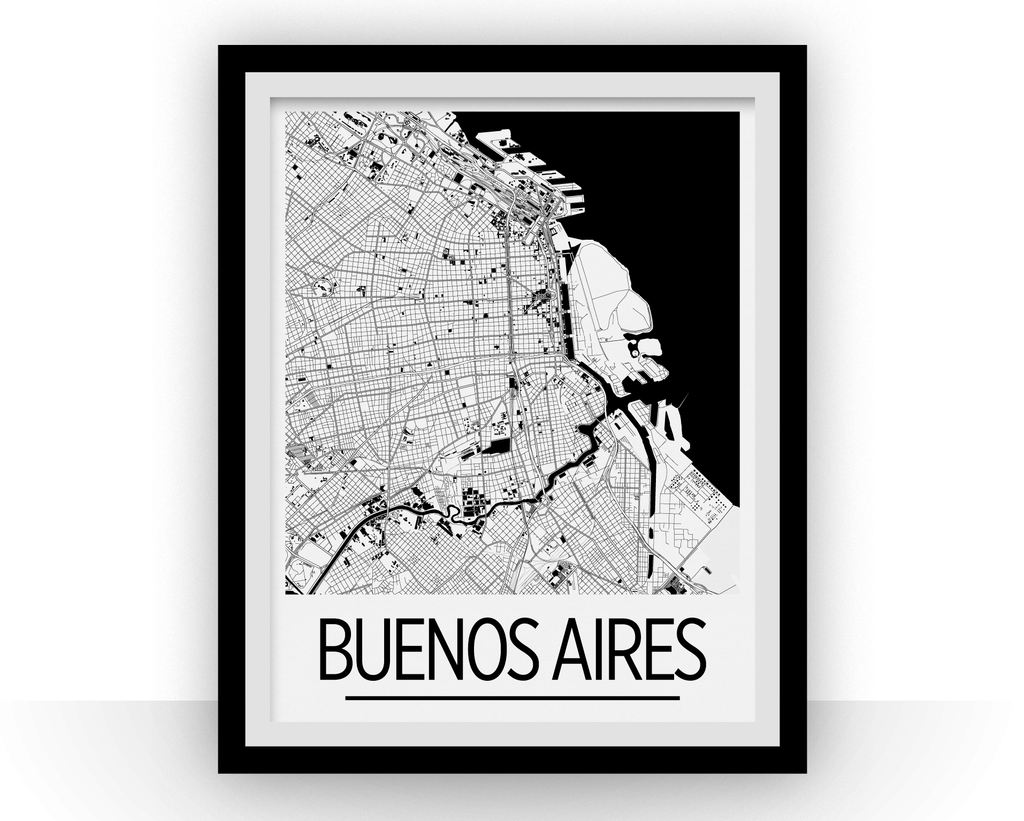 Buenos Aires Map Poster Argentina Map Print Art Deco Series - Argentina map to print