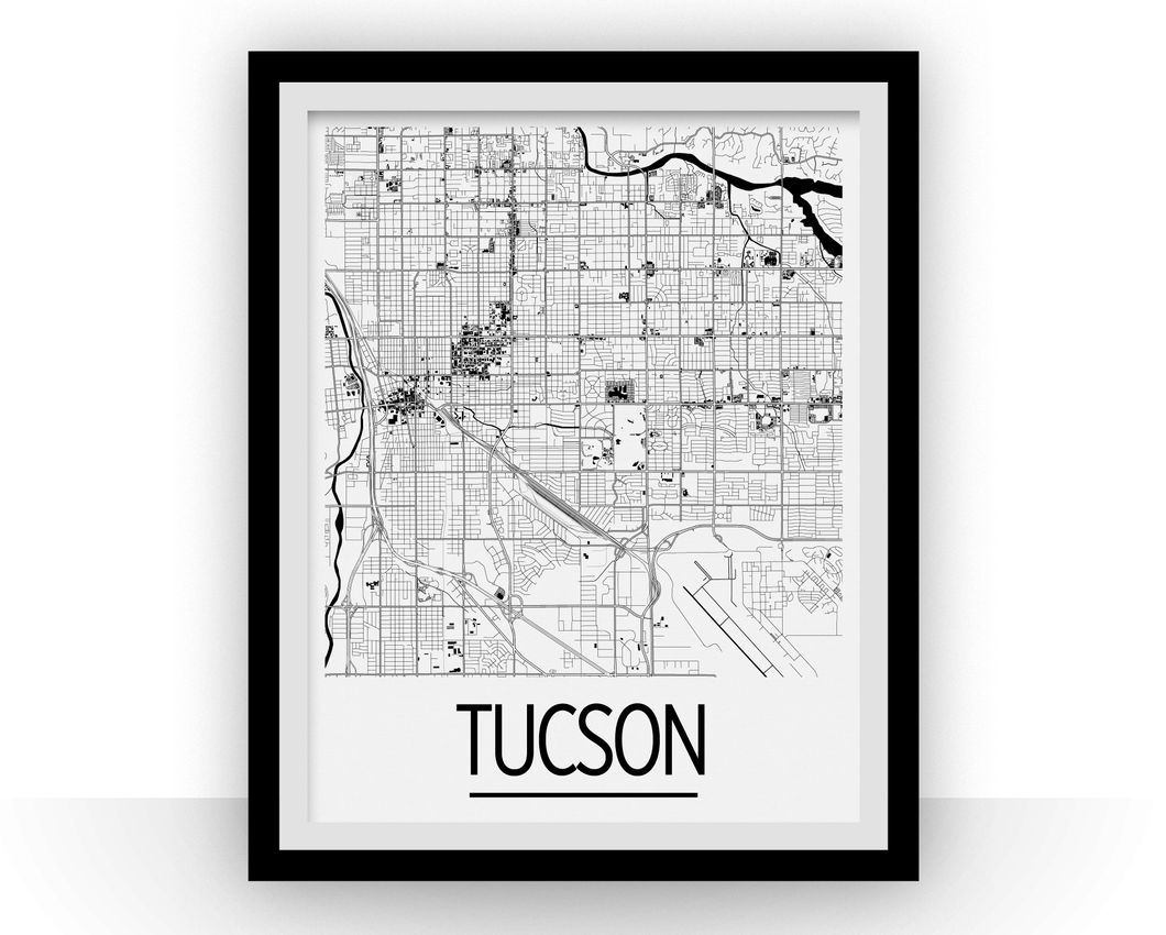 Tucson Map Poster - usa Map Print - Art Deco Series