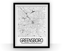 Greensboro Map Poster - usa Map Print - Art Deco Series
