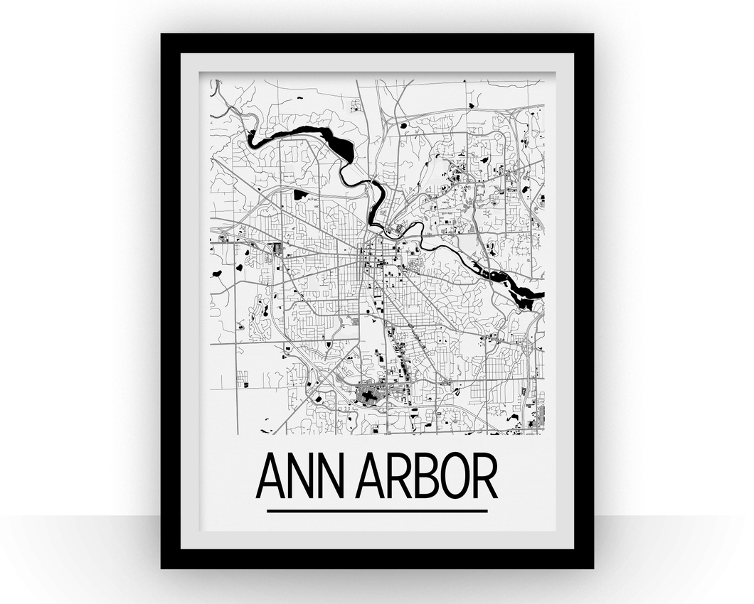 Ann Arbor Map Poster - Michigan Map Print - Art Deco Series