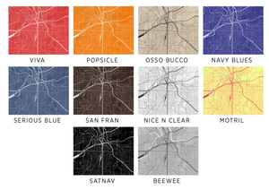 Fort Worth Map Print - Choose your color