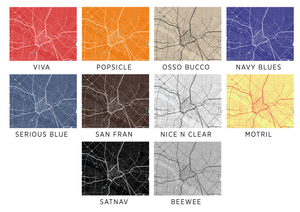 Dallas Map Print - Choose your color