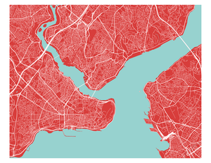 Istanbul Map Print - Choose your color