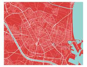 Valencia Map Print - Choose your color