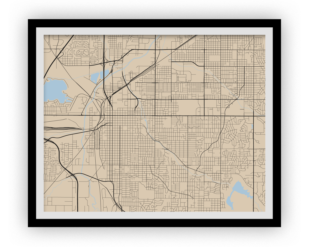 Lincoln Map Print - Choose your color