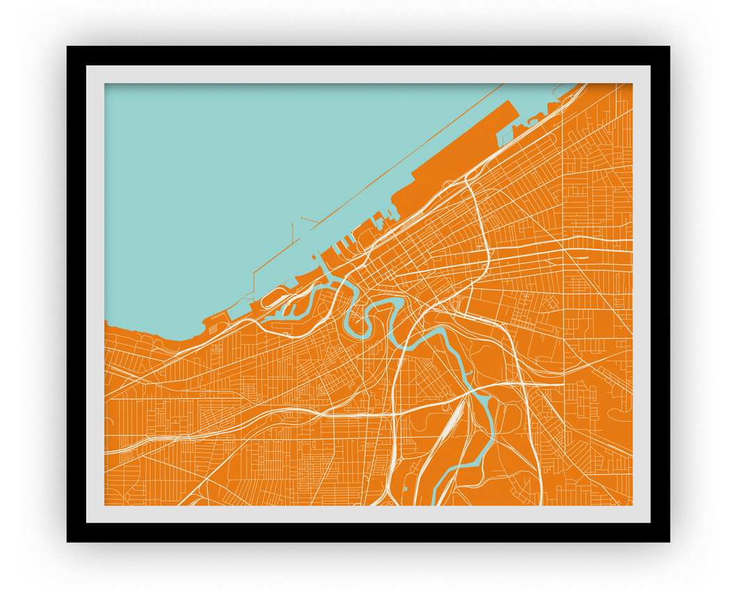 Cleveland Map Print - Choose your color