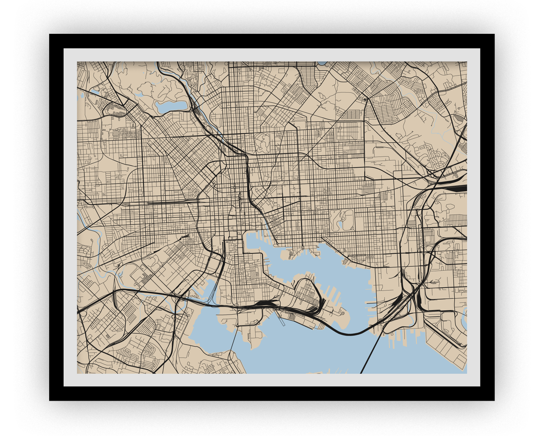 Baltimore Map Print - Choose your color