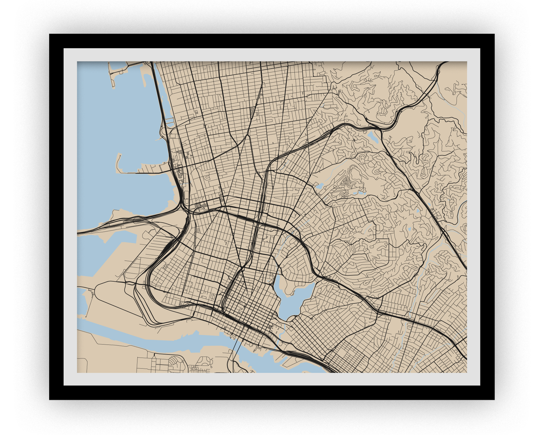 Oakland Map Print - Choose your color