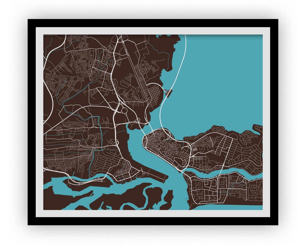 Lagos Map Print - Choose your color