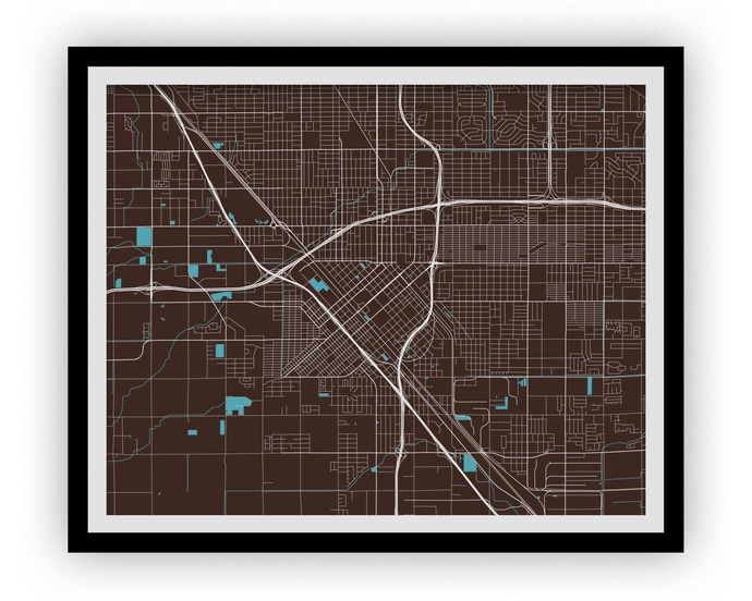 Fresno Map Print - Choose your color