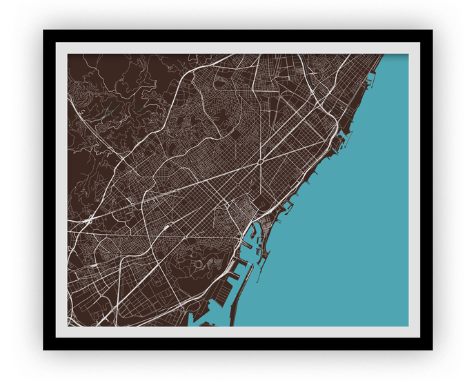 Barcelona Map Print - Any Color You Like