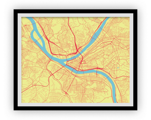 Pittsburgh Map Print - Choose your color