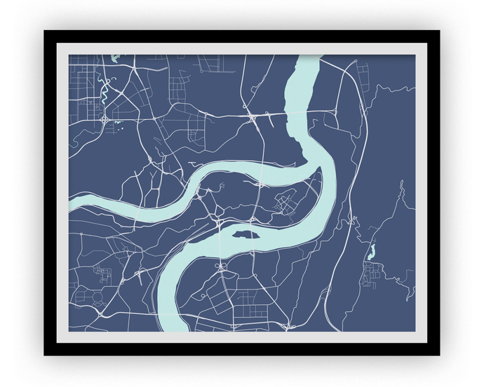 Chongqing Map Print - Choose your color