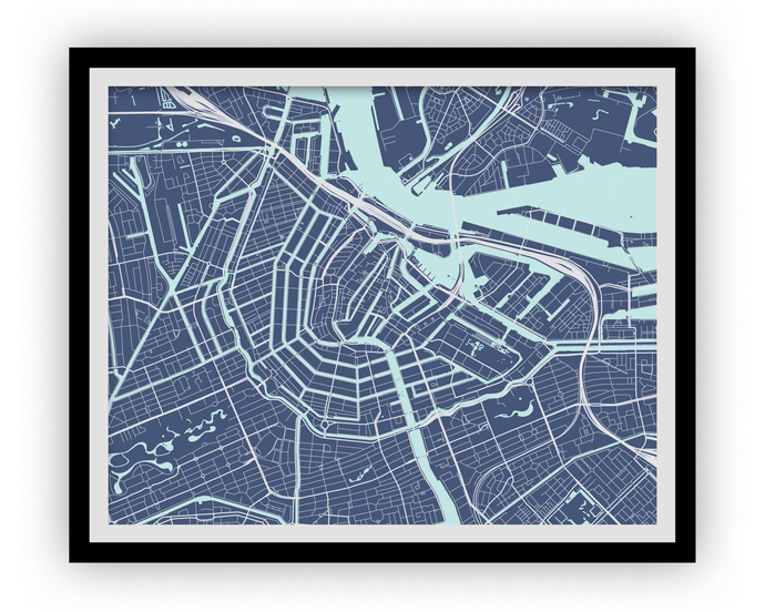Amsterdam Map Print - Choose your color