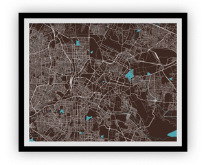 Bangalore Map Print - Choose your color