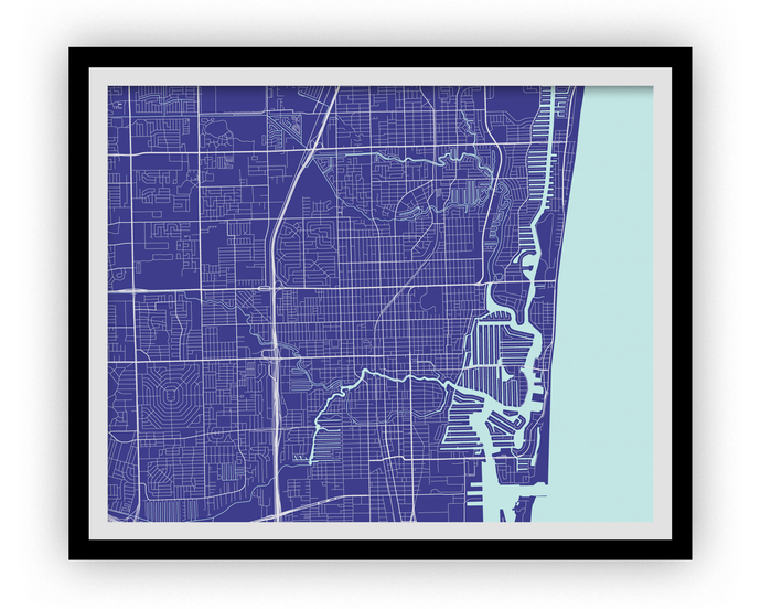 Fort Lauderdale Map Print - Choose your color