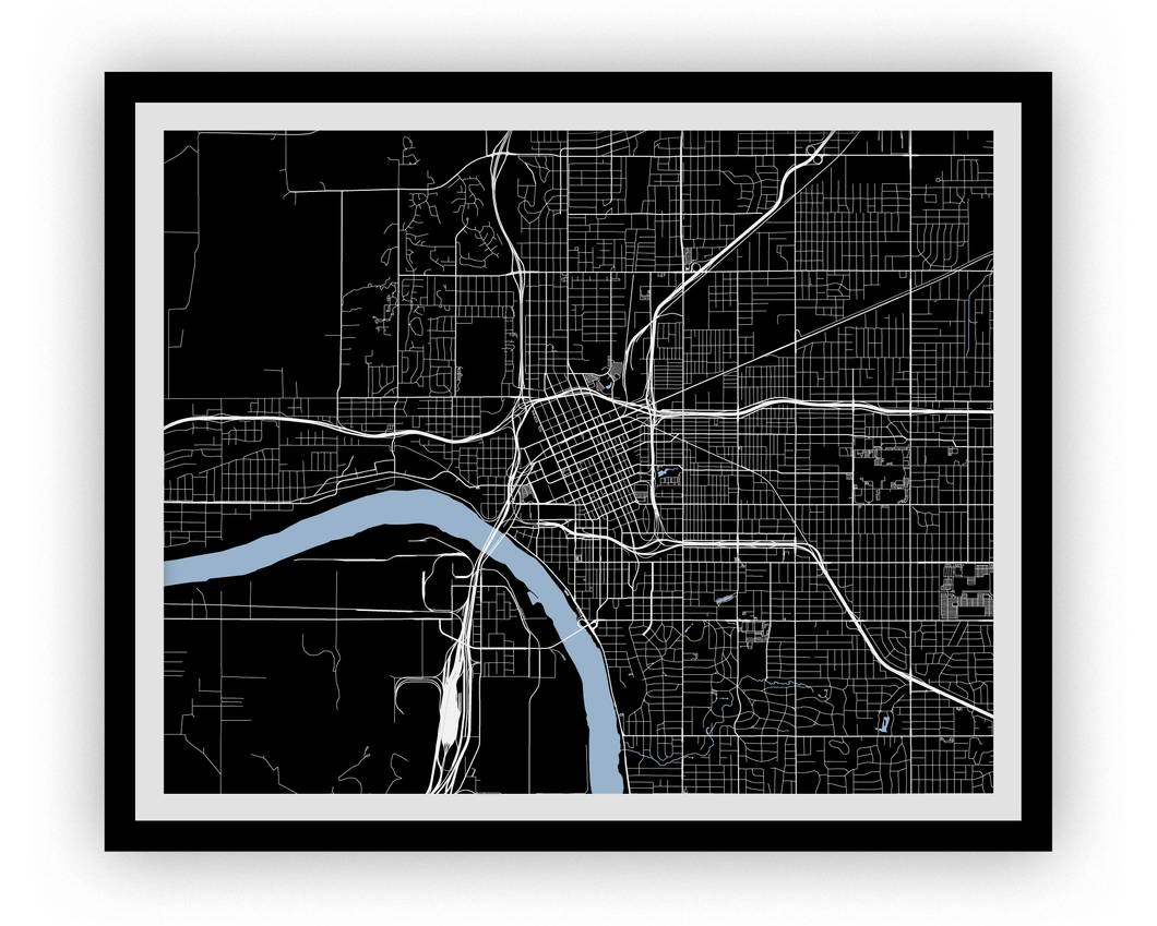 Tulsa Map Print - Choose your color