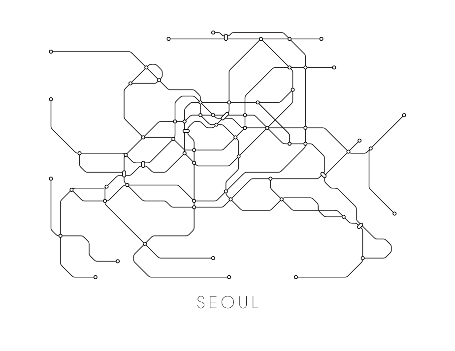 Eoul Subway Map.Seoul Subway Map Print Seoul Metro Map Poster