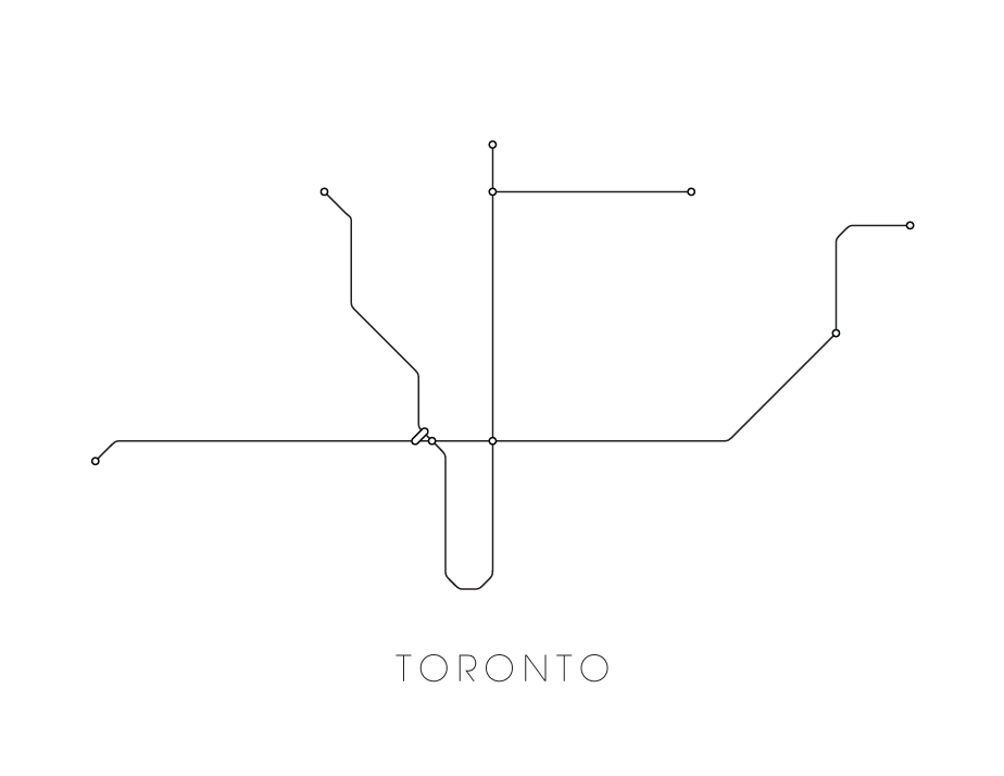 Toronto Subway Map.Toronto Subway Map Print Toronto Metro Map Poster
