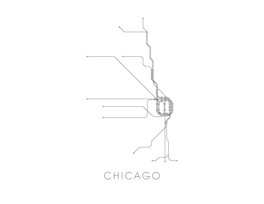 Black And White Subway Map.Chicago Subway Map Print Chicago Metro Map Poster