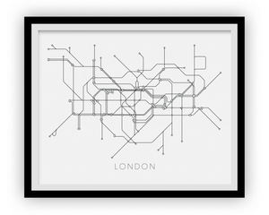 London Subway Map Print - London Metro Map Poster