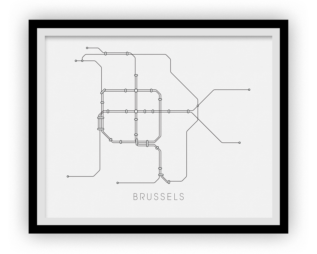 Brussels Subway Map Print - Brussels Metro Map Poster