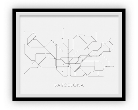 Barcelona Subway Map Print - Barcelona Metro Map Poster