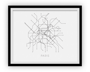 Paris Subway Map Print - Paris Metro Map Poster