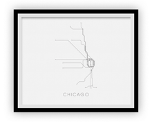 Chicago Subway Map Print - Chicago Metro Map Poster