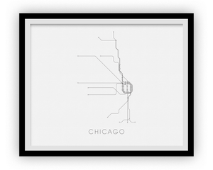 Subway Map Chicao.Chicago Subway Map Print Chicago Metro Map Poster Ilikemaps