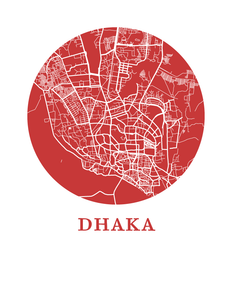 Dhaka Map Print - City Map Poster
