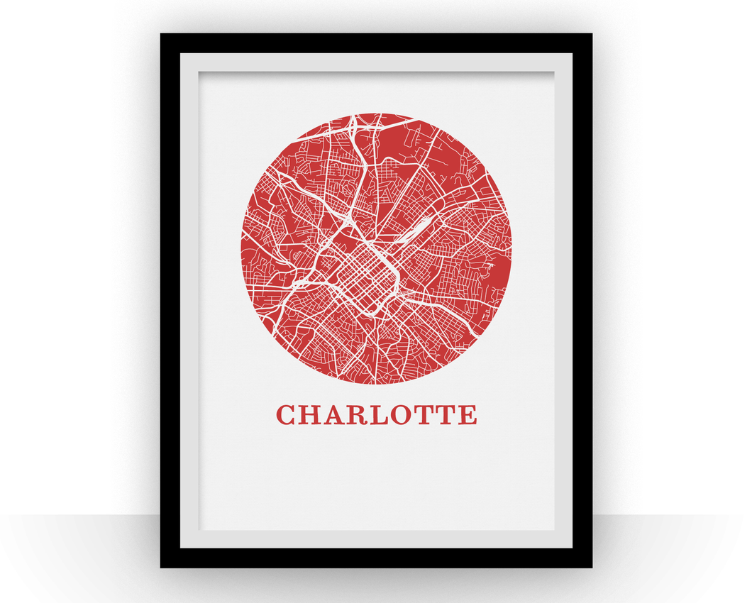 Charlotte Map Print - City Map Poster