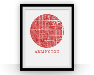 Arlington Texas Map Print - City Map Poster
