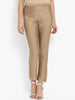 Solid Gold Side Zip Silk Pant
