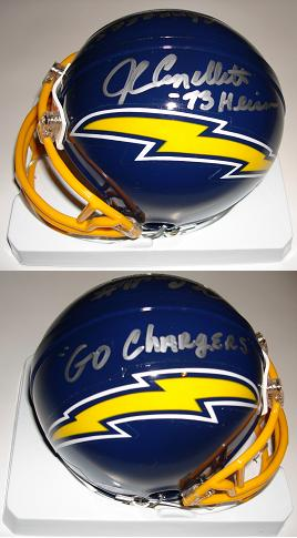 John Cappelletti Autographed San Diego Chargers Mini Helmet Inscribed