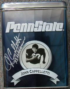 John Cappelletti Autographed Penn State Coffee Tin Inscribed 73 Heisman
