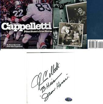 John Cappelletti Autographed Iron Horse Hardcover Book Inscribed 73 Heisman Iron Horse Penn State