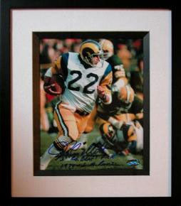 John Cappelletti Autographed 8x10 LA Rams Action Photo Inscribed 1st Rd. Draft Pick 1974 LA Rams Penn State Framed