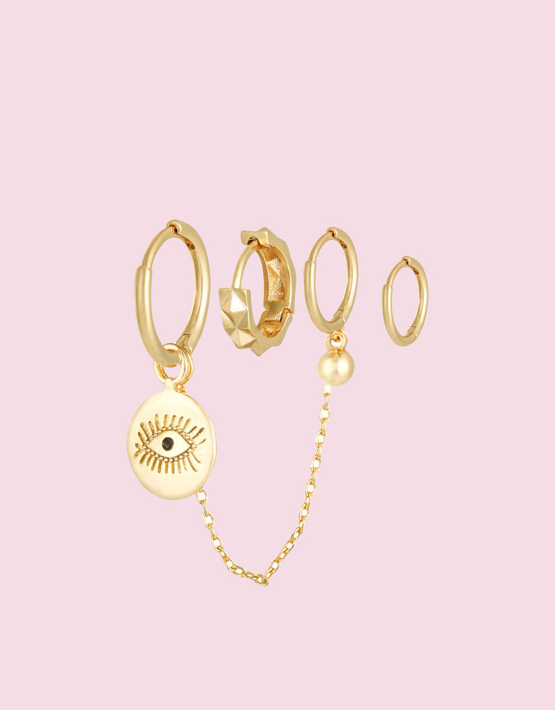 Earrings set diamond eye