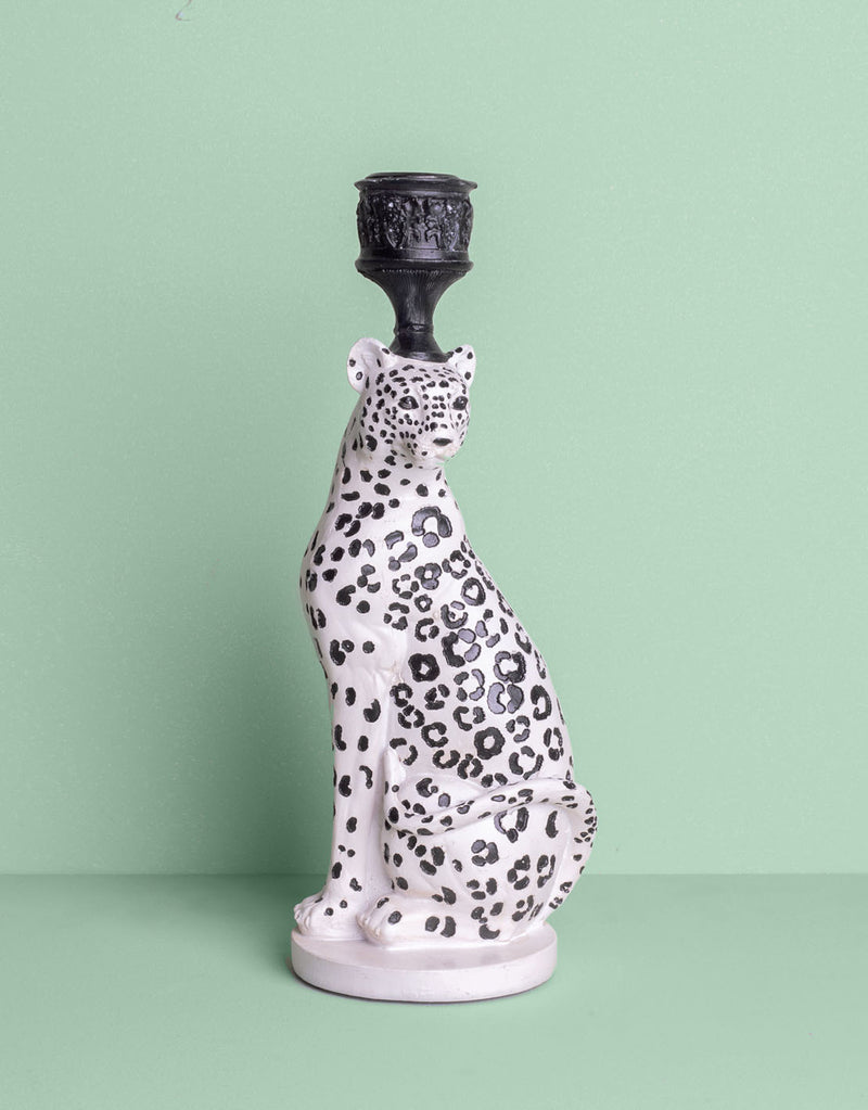 Leopard candle holder