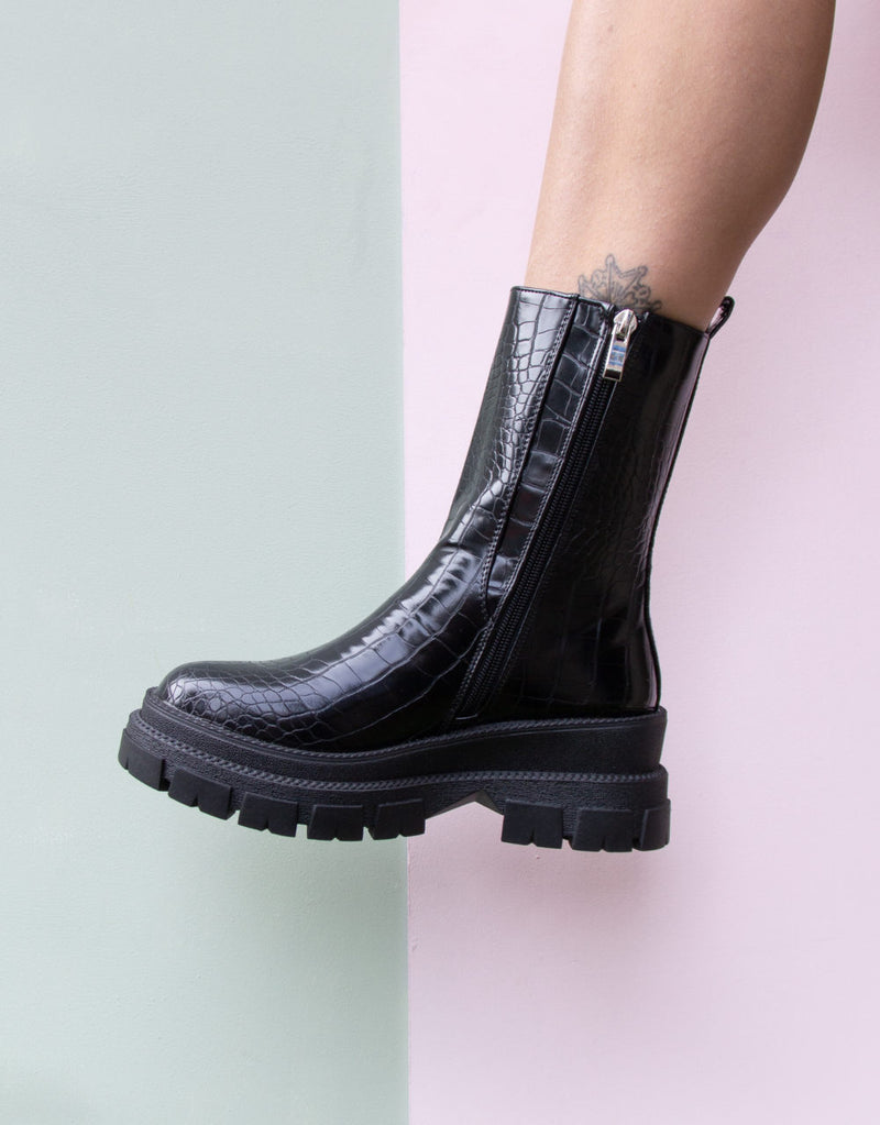 Vegan leather snake platform boots