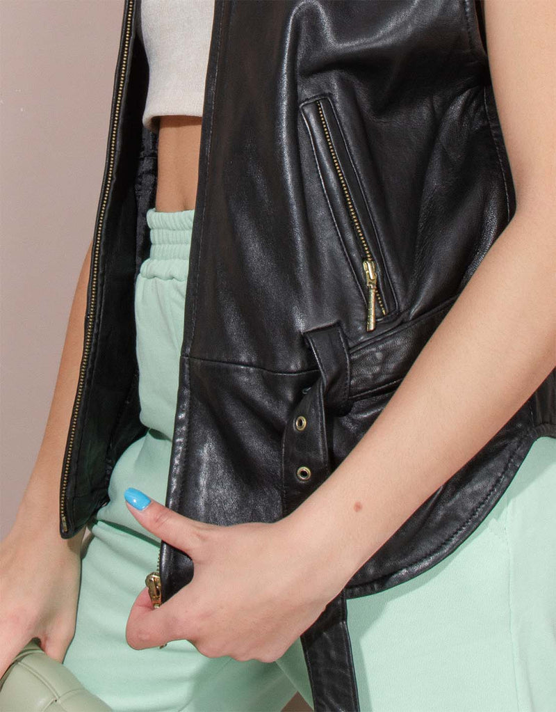 Vintage leather gilet with gold details