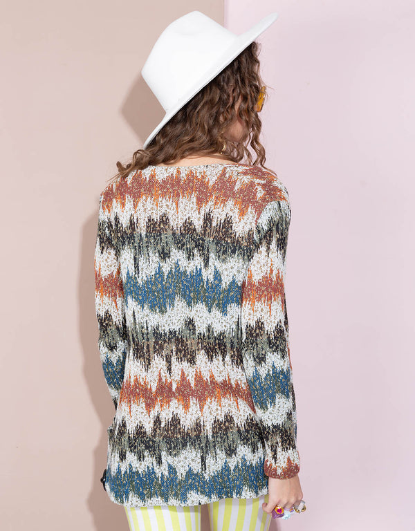 Vintage missoni wool knit color mix cardigan
