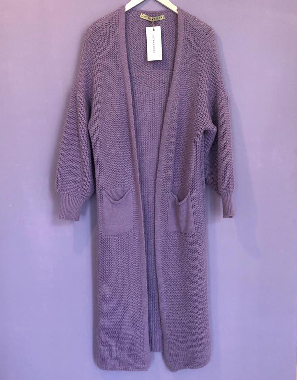 Basic puff sleeve maxi cardigan pocket