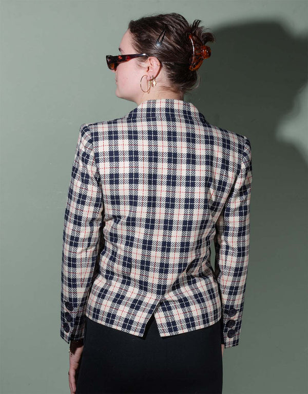 Vintage Yves Saint Laurent checkered short blazer