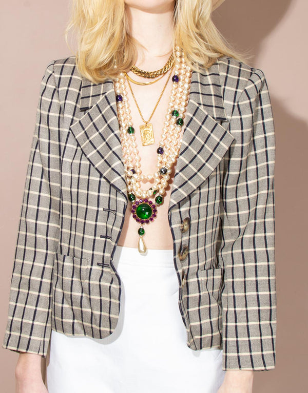 Vintage Yves Saint Laurent Checkered Blazer