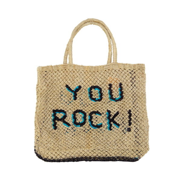 Panier tressé naturel en jute inscription YOU ROCK The Jacksons - Facettes Paris