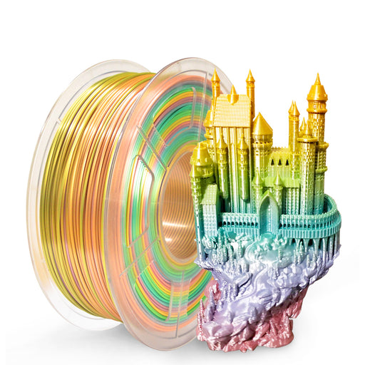 2 Rolls of PLA Silk Rainbow Filament 1.75mm 2kg/4.4lbs