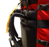 Red Ostrom Winisk Canoe Pack, Portage Pack shoulder strap close up view, Canada, image.